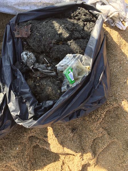 Limpieza del mar Barcelona_basura de toallitas de bebe