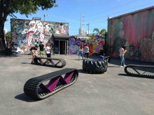 Old truck tyres as public benches