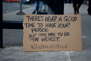 The Homeless Period, tampons and towels for homeless women