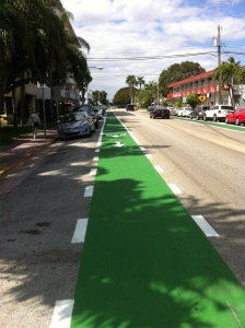 Well marked green bike lanes