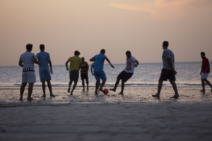 Football on the beach to keep youngsters busy and adults fit