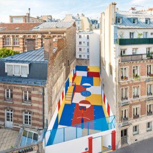 Bringing colour to city life – Painted basketball court in Paris
