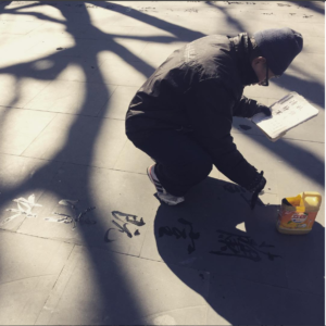 Learning Chinese calligraphy at the parks