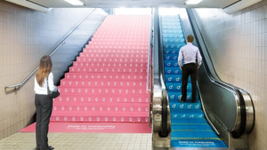 Subway stairs against gender inequality
