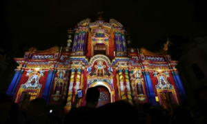 Illuminated churches in Quito