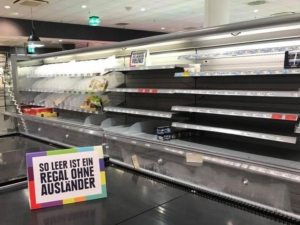 Empty shelves in supermarket to make a point about racism