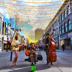 A colorful pedestrian promenade in Montreal