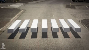 Crosswalks in 3D to reduce car accidents
