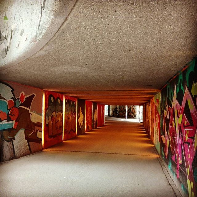 Illuminated graffiti, beautiful tunnel