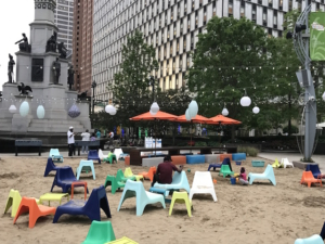 Placemaking: Urban beach in Downtown Detroit