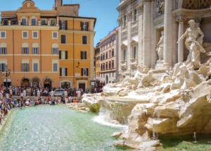 A coin into the Trevi Fountain helps somebody else in the city