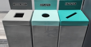 Creative recycling bins: Call to action with shapes and colours